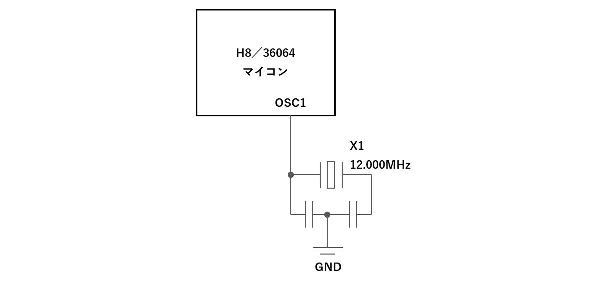 水晶発振器の回路図