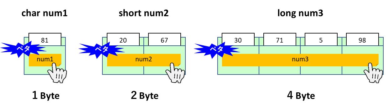 データ型のメモリサイズ