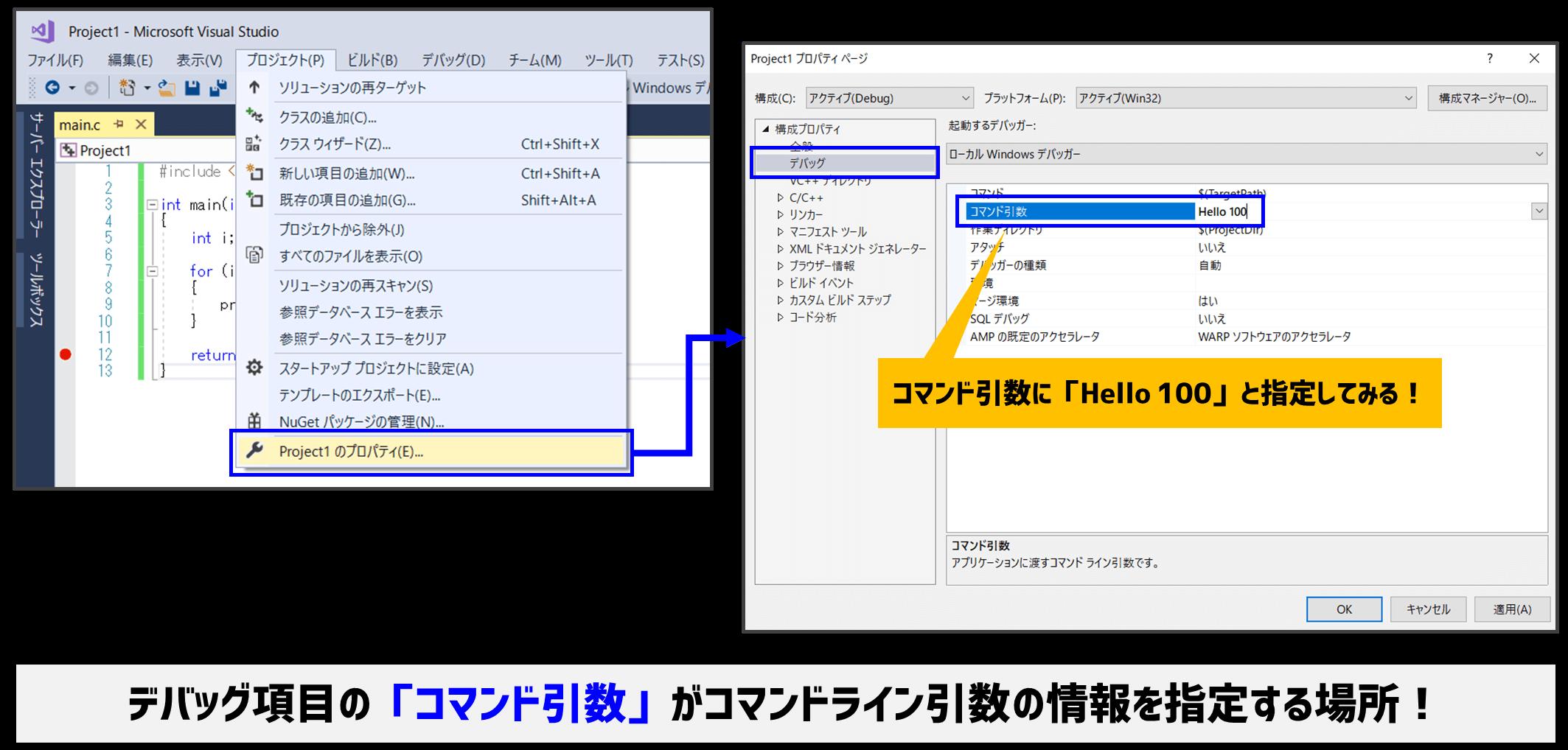 VisualStudioのコマンドライン引数指定