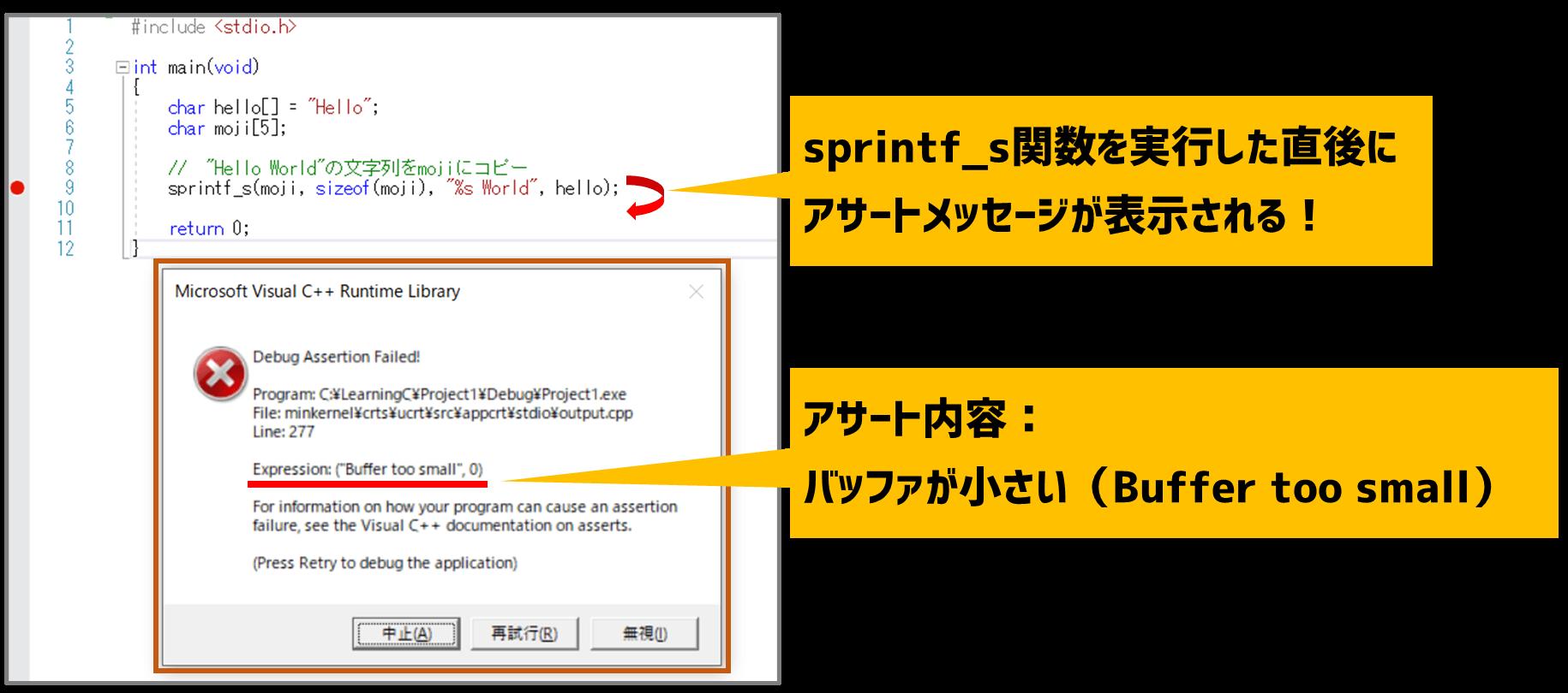 sprintf_sのアサート